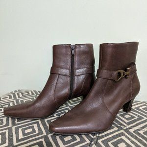 Anne Klein Iflex Brown Leather Ankle Booties